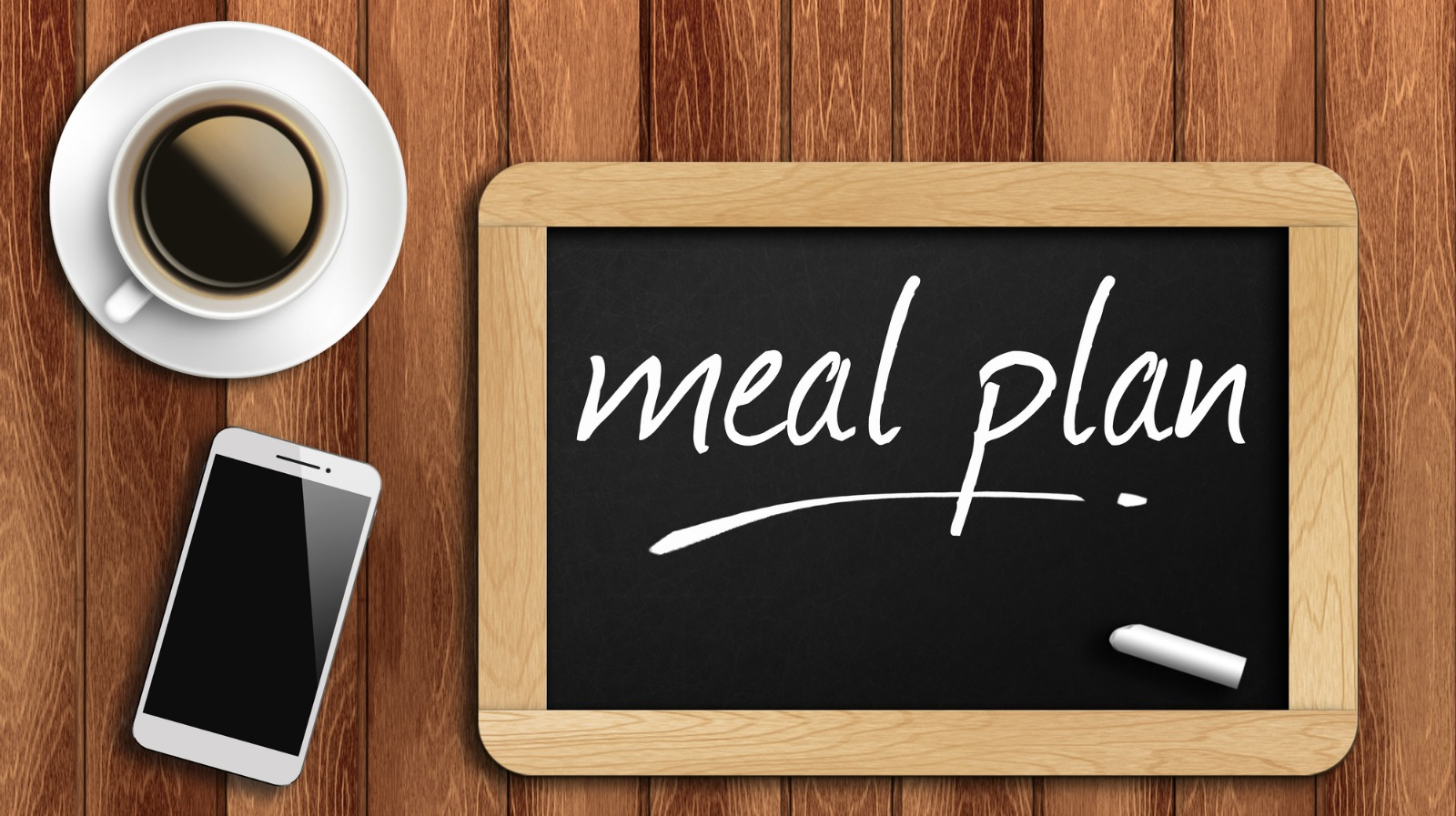 The coffee, phone  and chalkboard with word meal plan